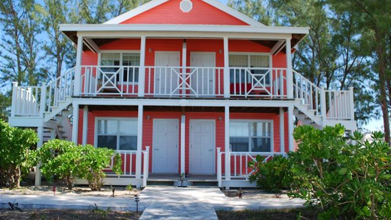 Outside view of the red house – Eleuthera Vacation Rentals