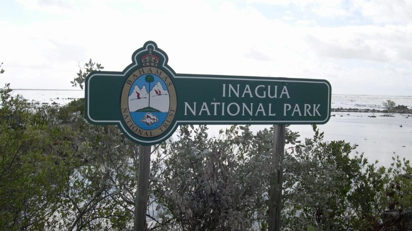 Sign at entrance to the Inagua National Park. – O. Stokes, Bahamas National Trust