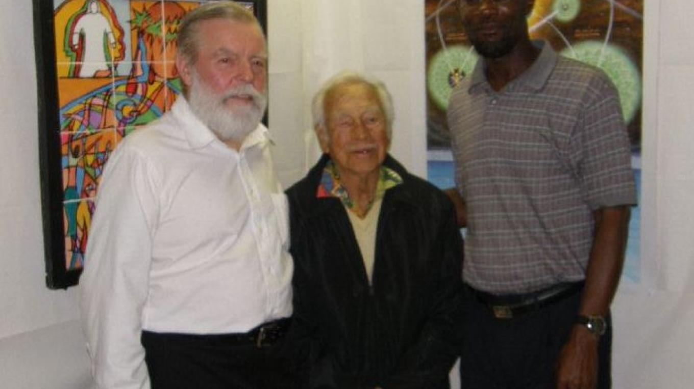 Mr. James Pinder (right), Mr. Nob Cox (left), and Ms. Clarke Daniels (middle) at an Art Exhibition. – Bimini All Age School