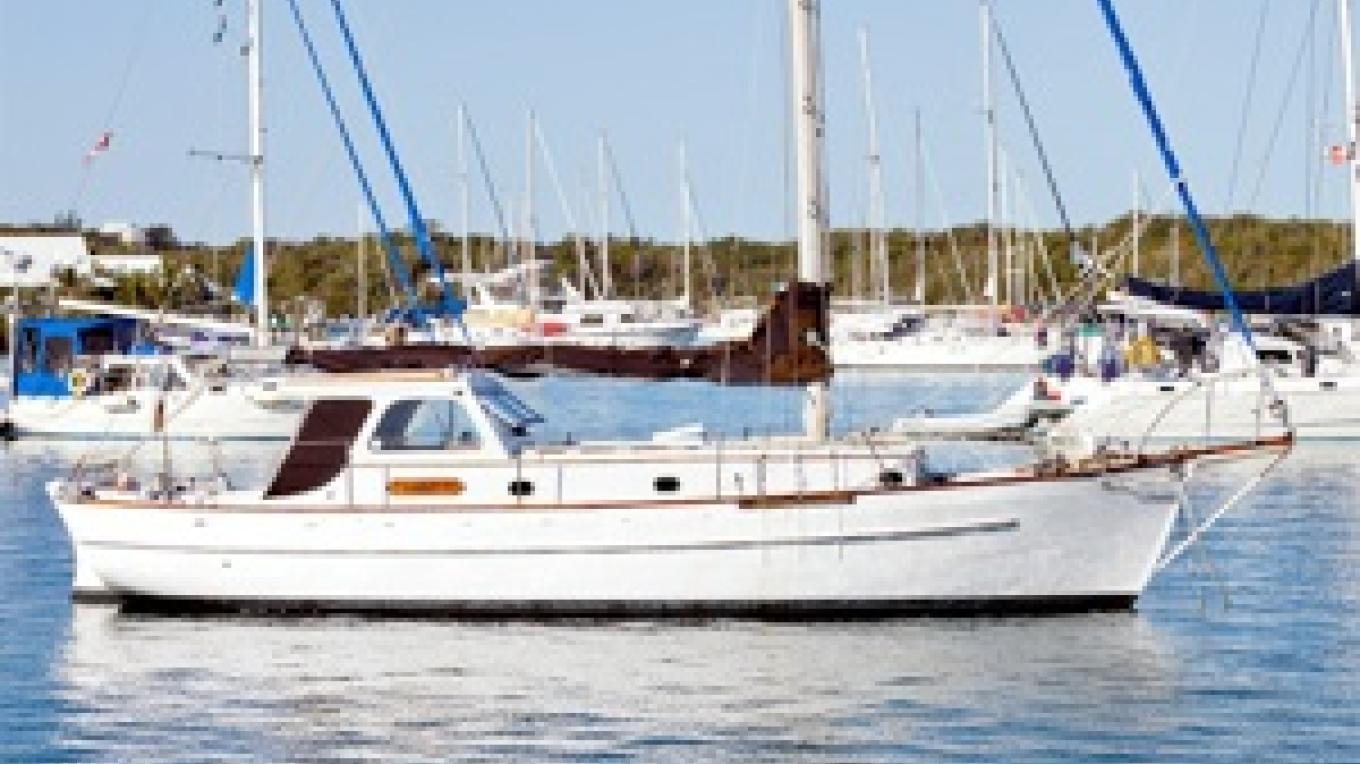 S/V Tamar II, built at Edwin's, moored in Hopetown, owned by Bill County. – dw