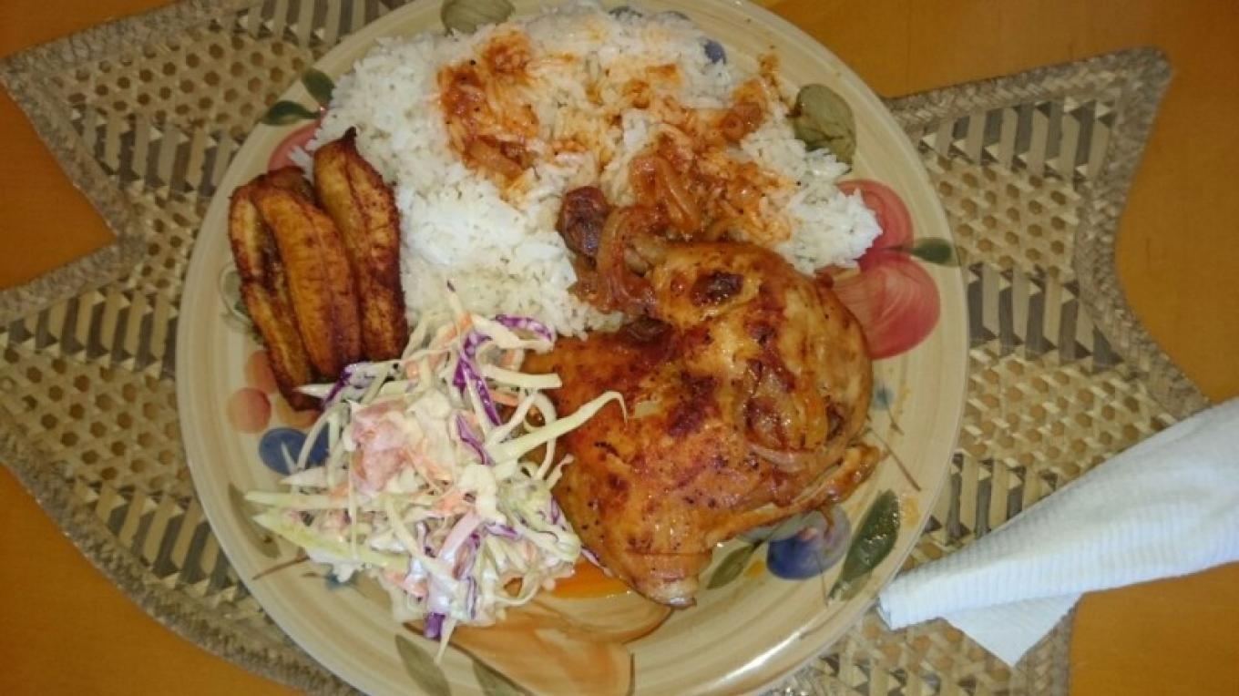 Mouth Watering Baked Chicken, white rice, cole slaw & plantain – Samantha Gierszewski-Fox