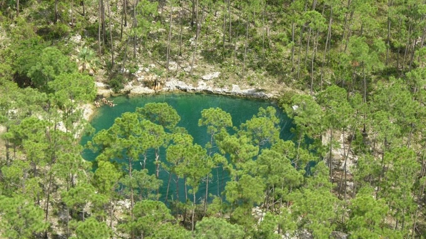 Aerial view of Treasure Cay Blue Hole – Nancy Albury