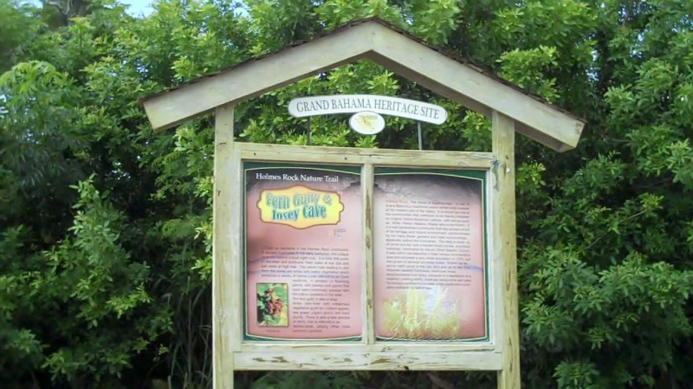 Sign at Entrance to Fern Gully & Josey Cave – Bahamas Ministry of Tourism