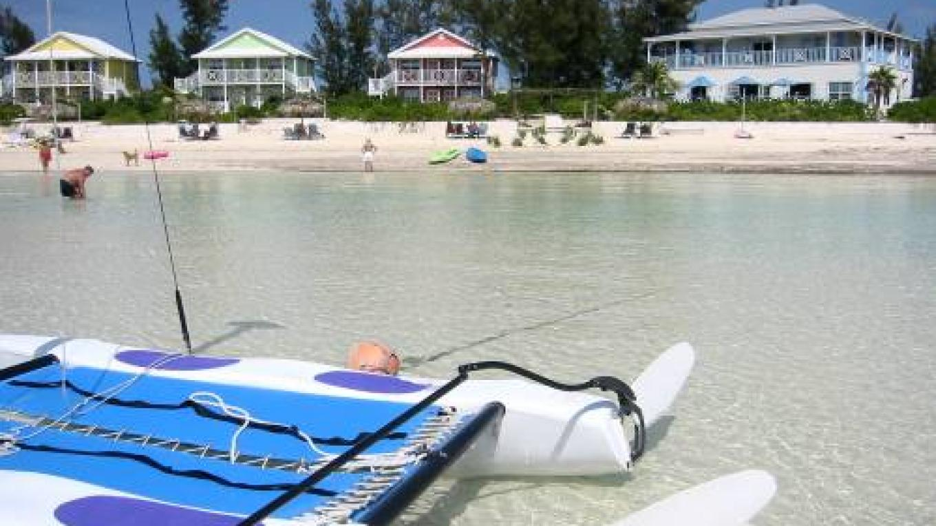 View of the cottages and beach from the ocean – discover Eleuthera