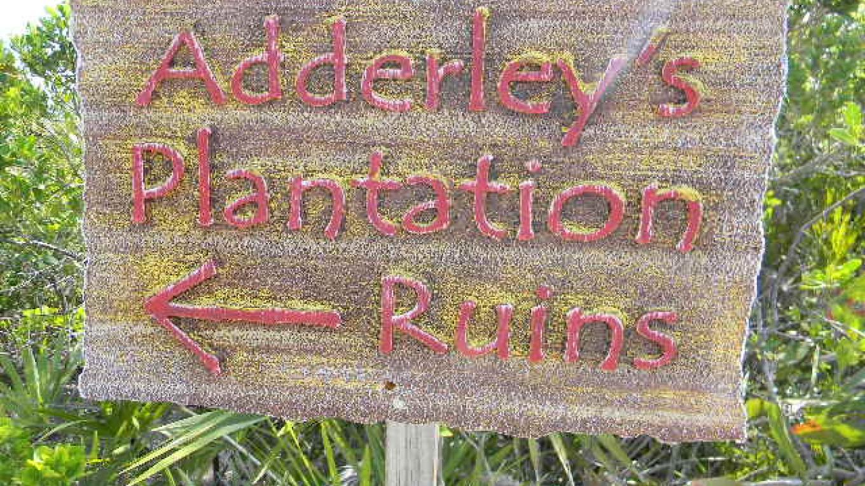 Adderley Plantation Ruins road sign. – Mrs.Tanya Cartwright
