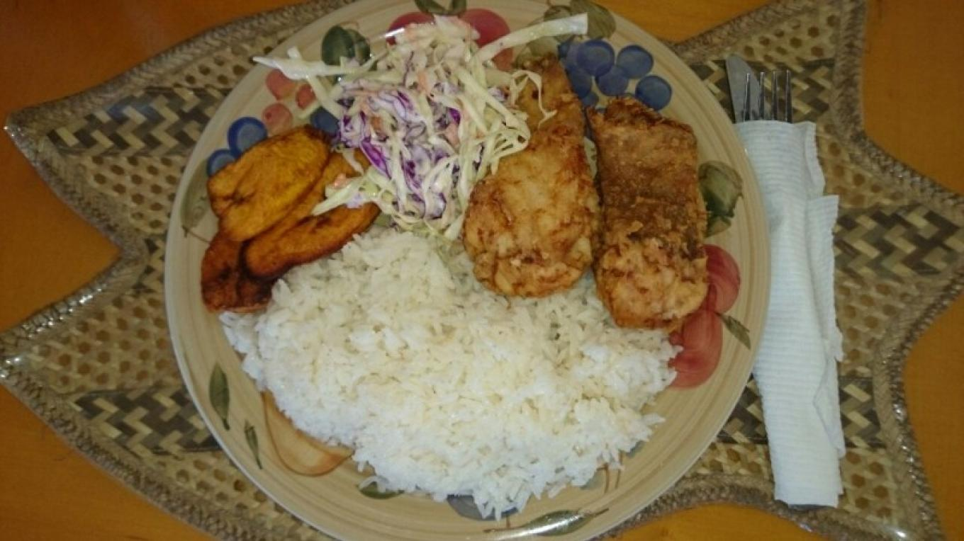 Delicious Bahamian Grouper Fingers, white rice, cole slaw and plantain – Samantha Gierszewski-Fox