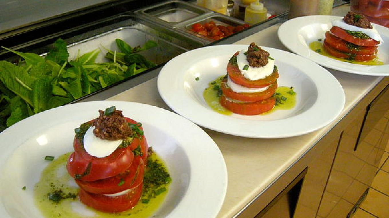 Local eirloom tomato and buffalo mozzarella stack
