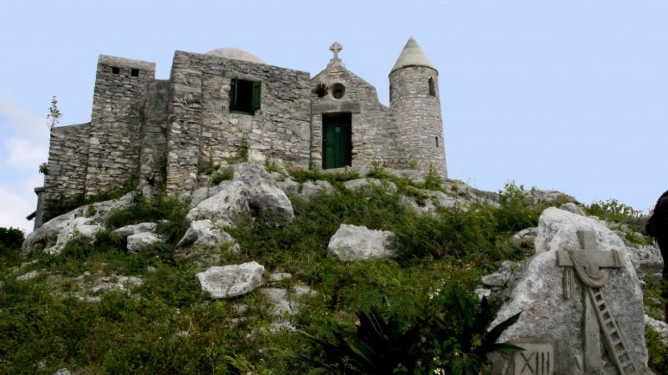 View of The Hermitage at the peak of Mount Alvernia, showing Father Jerome's skill at replicating a medieval monastery. – Derek Smith, Bahamas Information Services (BIS)