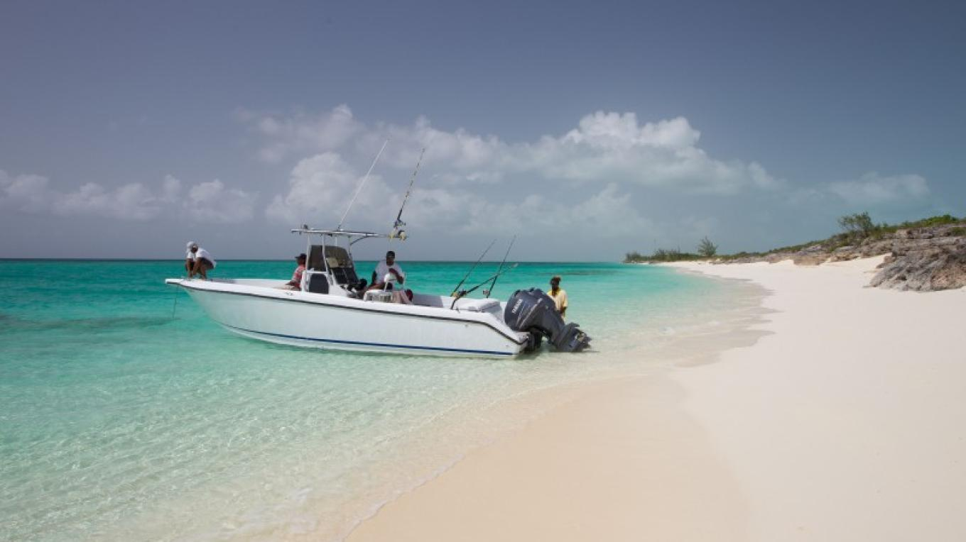 A boat at one of the beaches on Long Cay. – Bahamas Ministry of Tourism