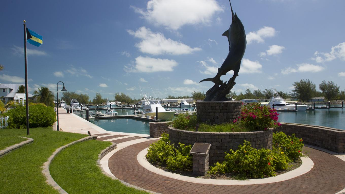 Statue of Blue Marlin at entrance to Chub Cay Club – Bahamas Ministry of Tourism