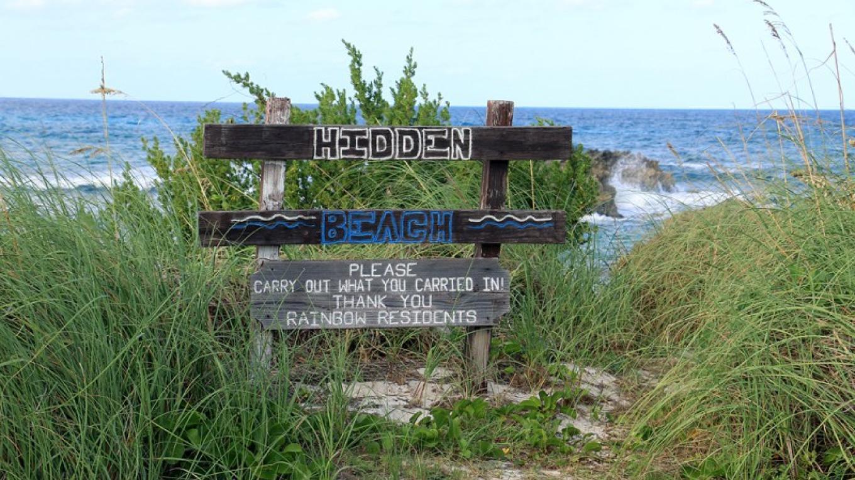 Hidden Beach sign – eleuthera bahamas
