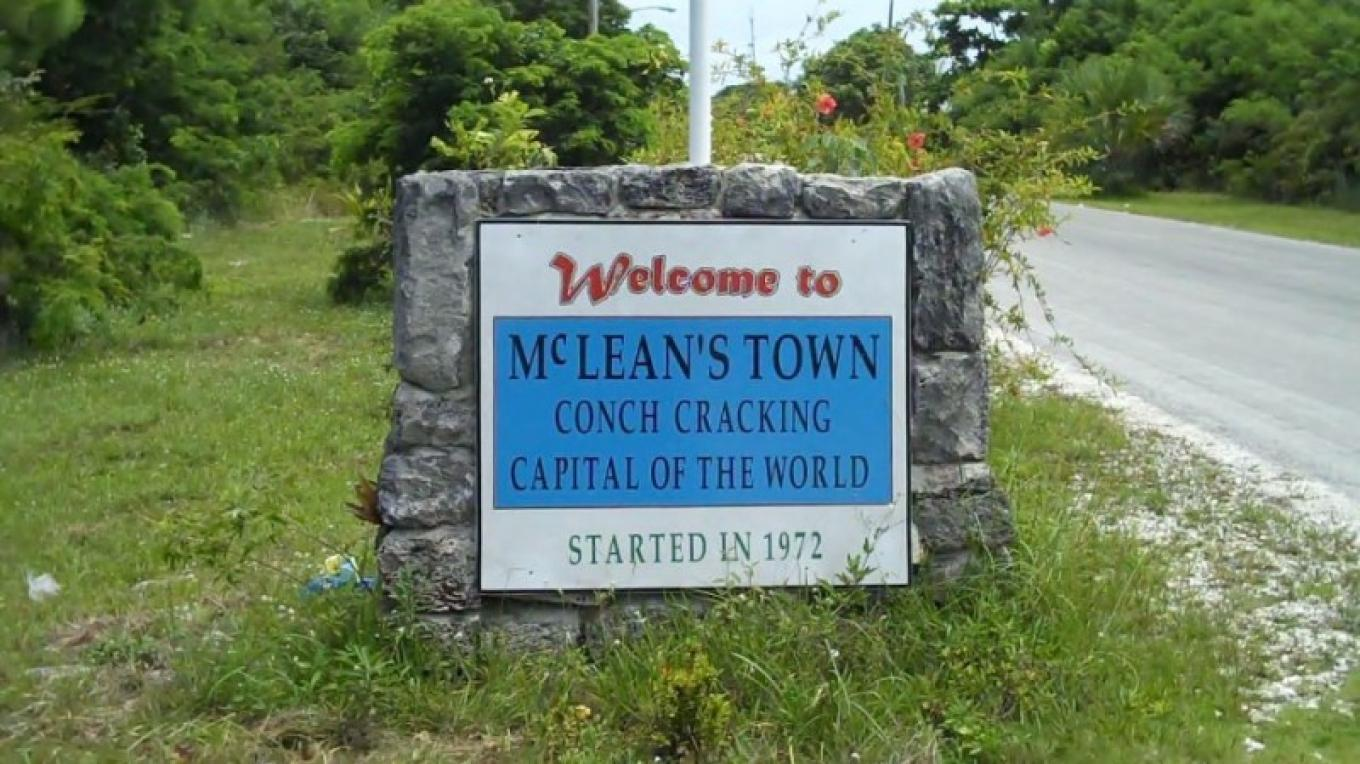 Sign at Entrance to McLean's Town Settlement – Bahamas Ministry of Tourism