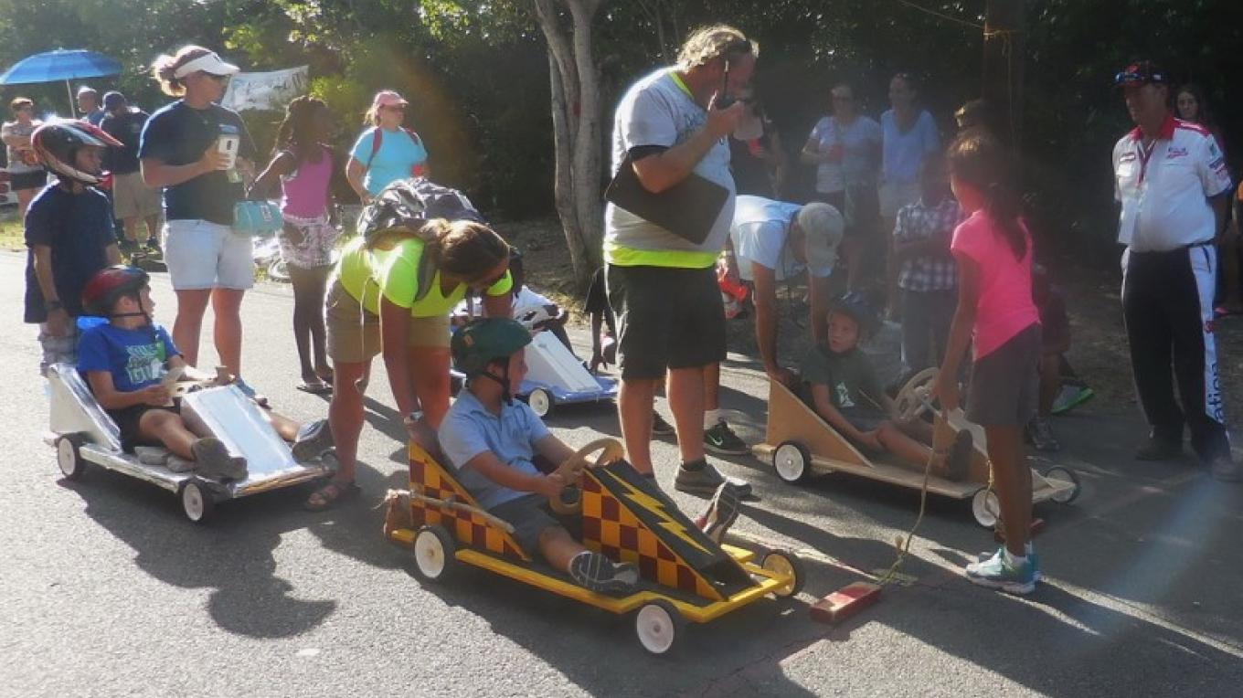 Children at the starting line of the Hope Town Box Cart Derby. – Dave Ralph