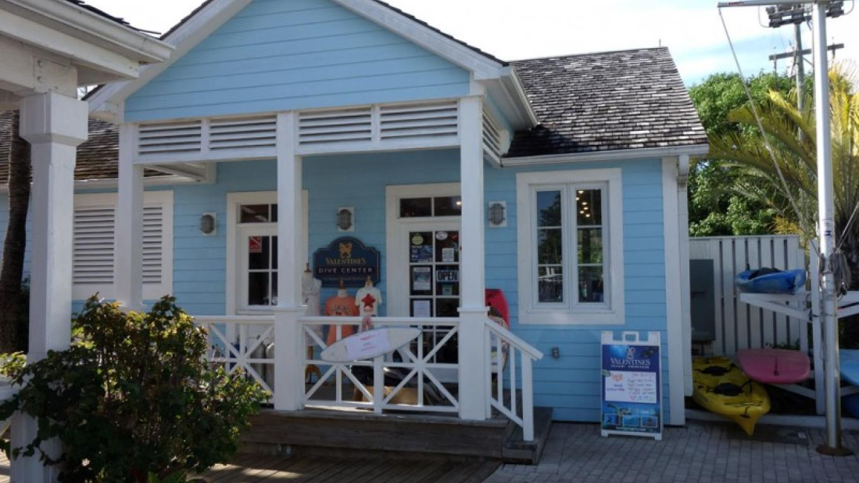Front entrance of Valentine's Dive Center – George Gross-Owner, Valentine's Dive Center