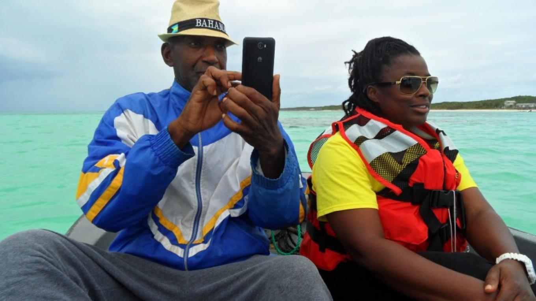 Traveling to Castle Island by boat – Patricka Ferguson, Yahaka Island Tours