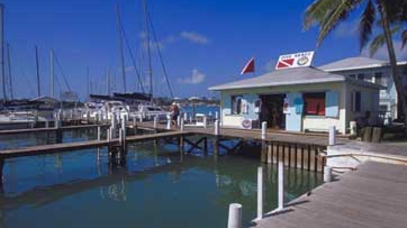 Conch Inn Resort & Marina, located on the Tourist Strip in Marsh Harbour – Photo by Destination Abaco