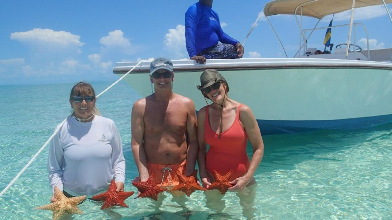 My guests gathered starfish for a photo...catch & release!