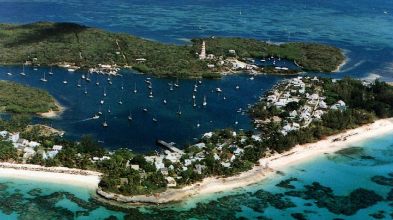Aerial view of Hope Town, Elbow Cay, The Abacos