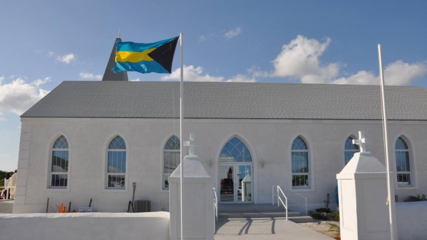 The front entrance of St. Philip's Anglican Church in Matthew Town, Inagua – George Harris, Coast FM Radio