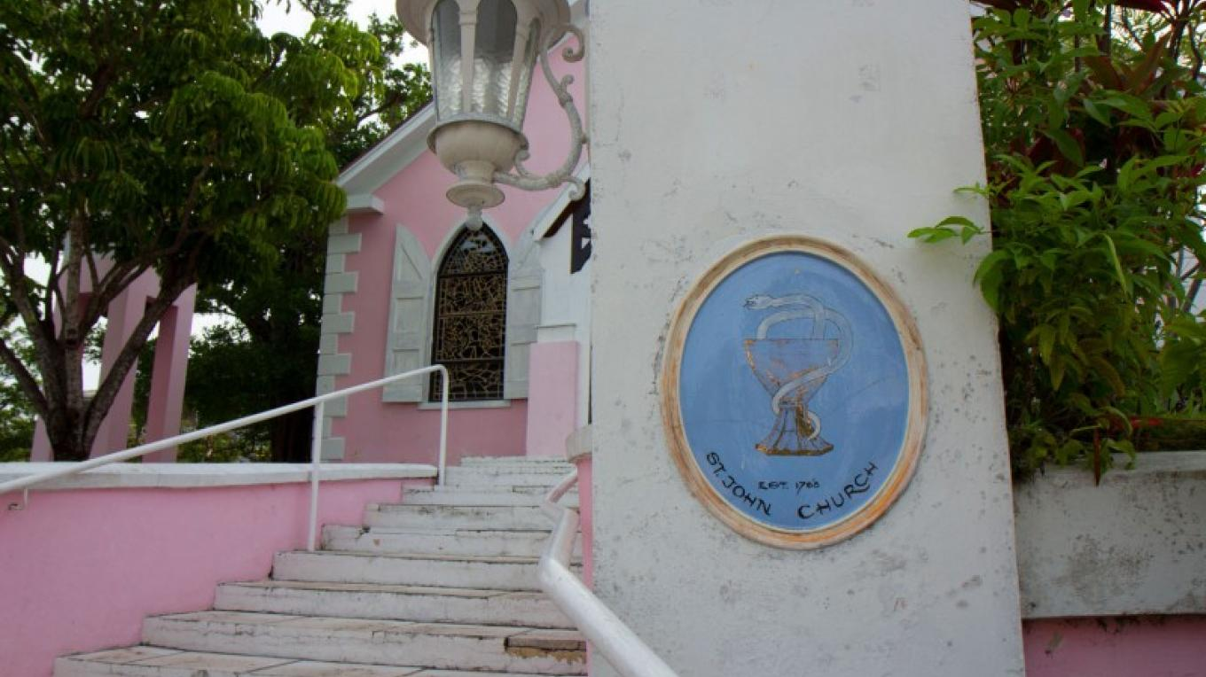 Plaque on right side of front entrance at St. John's Anglican Church – Bahamas Ministry of Tourism