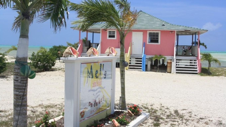 Front entrance of Mel's on Da Bay Restaurant, Pirate's Well, Mayaguana, The Bahamas – Mayaguana Administrator's Office