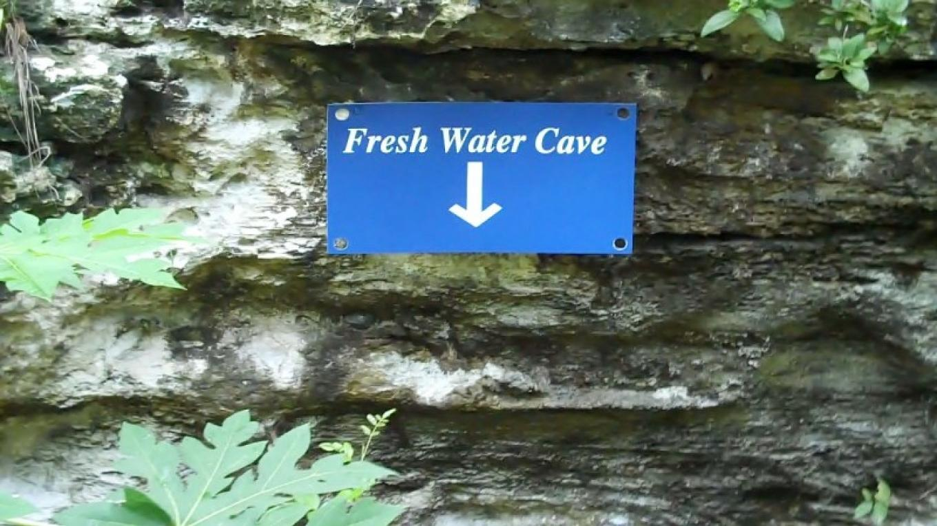 Sign at Fresh Water Cave in Fern Gully – Bahamas Ministry of Tourism