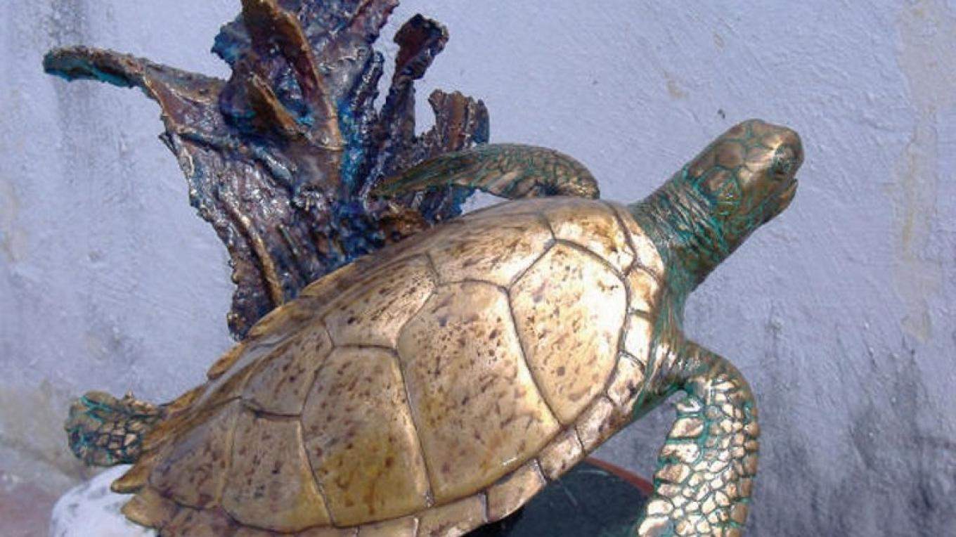A turtle made at the Johnston's Bronze Art Foundry.