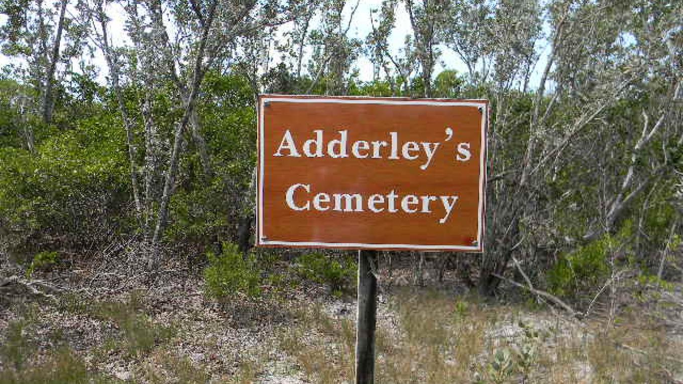 Sign showing The Adderley Plantation Cemetery. – Mrs.Tanya Cartwright