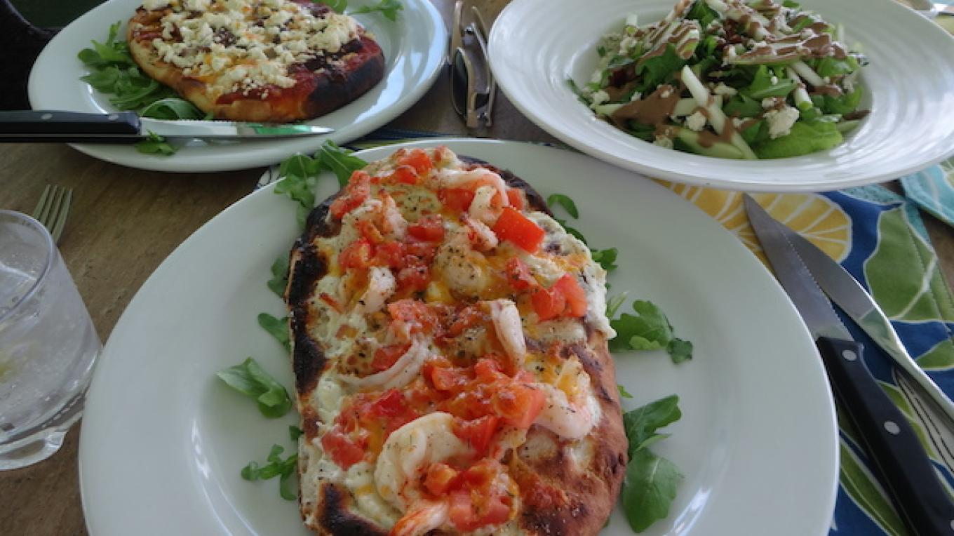 Pizza and salad at Pascal's Ocean Front – best of Eleuthera