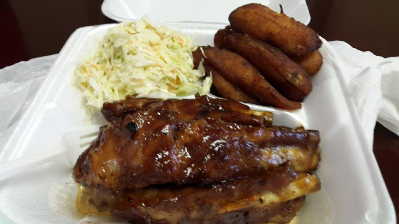 Down home cooking! Barbecue ribs, fried plantain, and cole slaw. – Mrs. Samantha Gierszewski-Fox