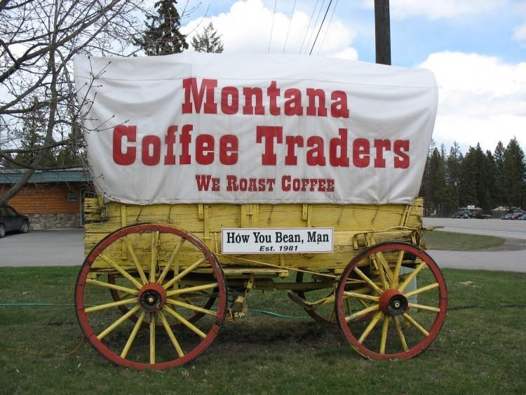 Look for our covered wagon outside our roastery