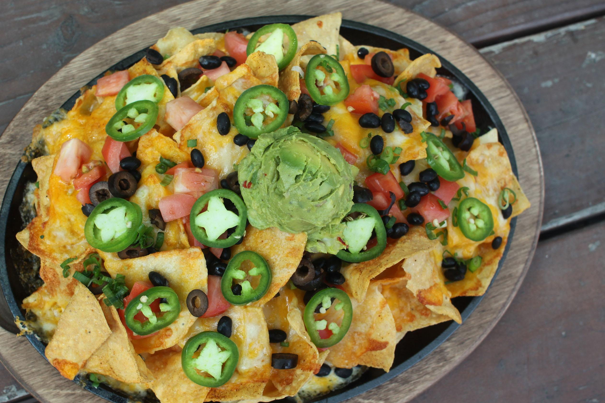 Big Moutain Nachos with fresh house made guac!