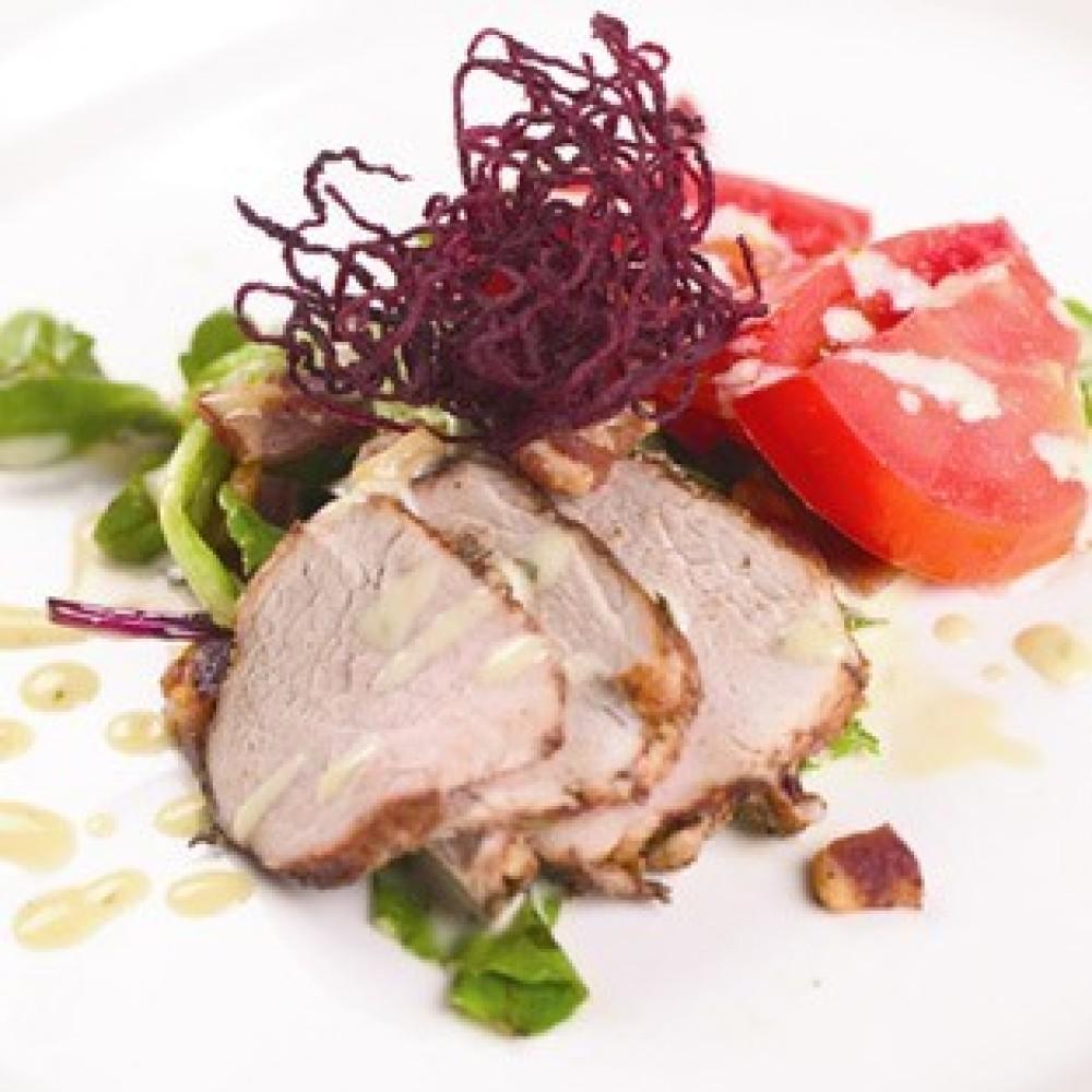 Marinated Pork Tenderloin, Applewood Bacon-Vidalia Dressing, Heirloom Tomatoes – Living Images