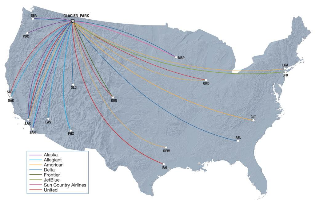 Current cities with direct air service to Glacier Park Int'l Airport (FCA)