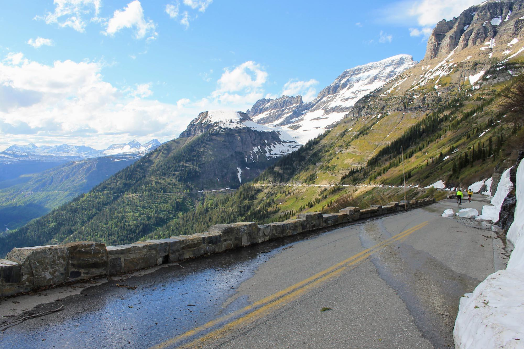 After working to reach Logan Pass, miles of downhill take you back toward your starting point