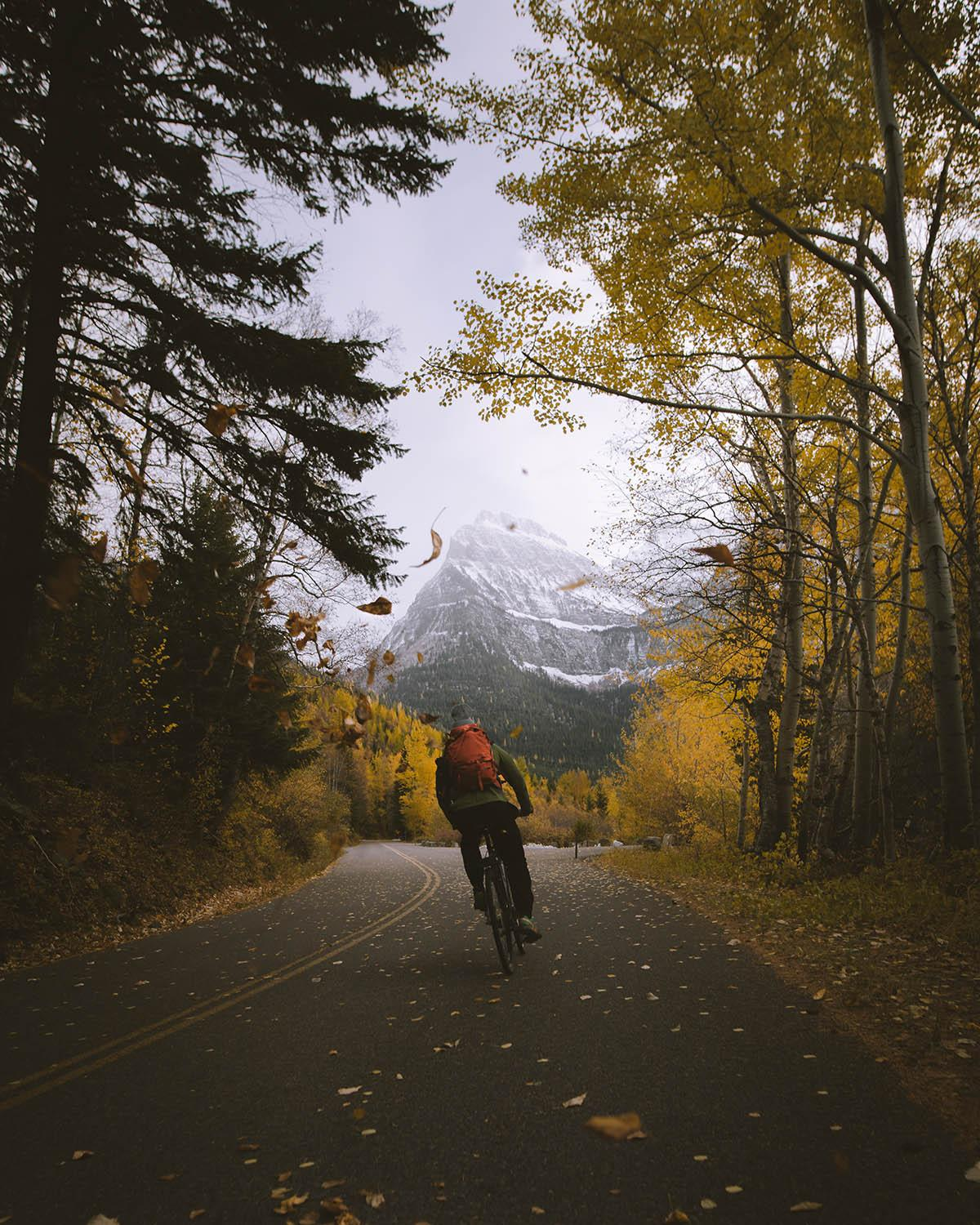 Fall Biking on Going-to-the-Sun Road in Glacier National Park