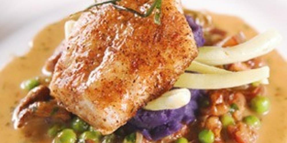 Striped Bass, Chanterelles, Sweet Peas, Purple Potaoes – Living Images
