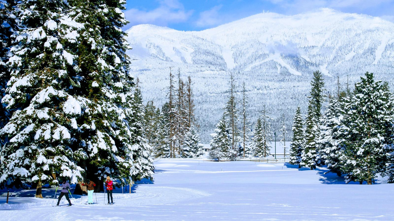 The groomed trails at Whitefish Lake Golf Course