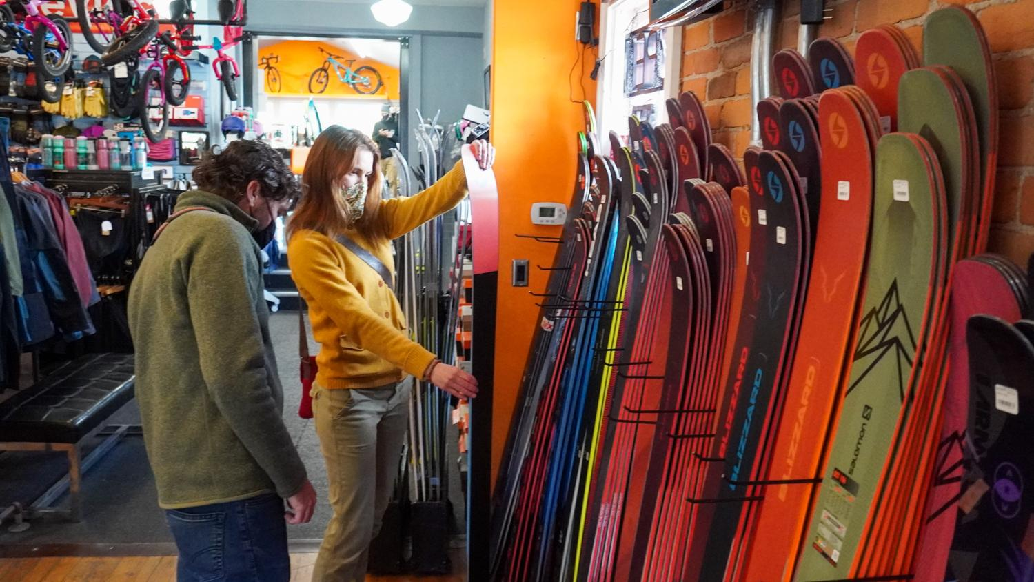 Shopping for skis at Great Northern Cycle & Ski