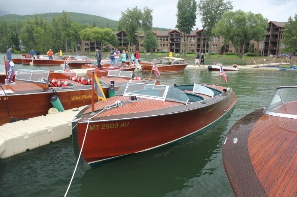 Hacker-Craft, Gar Wood, Century, Chris Craft and Larson boats on display. – Tim Salt