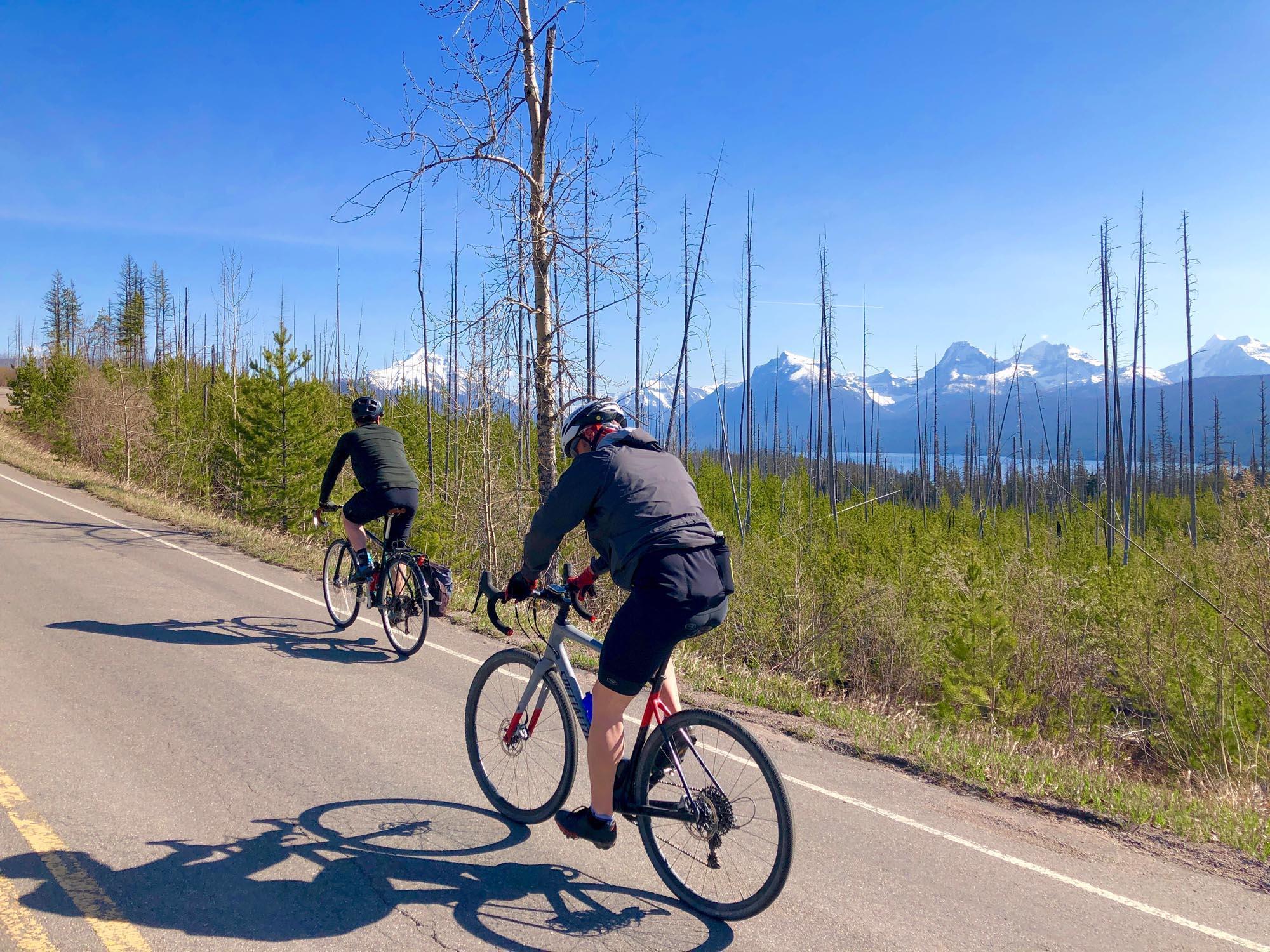 Cyclists ride along the Camas Road in Glacier National Park. Photo: Brian Schott