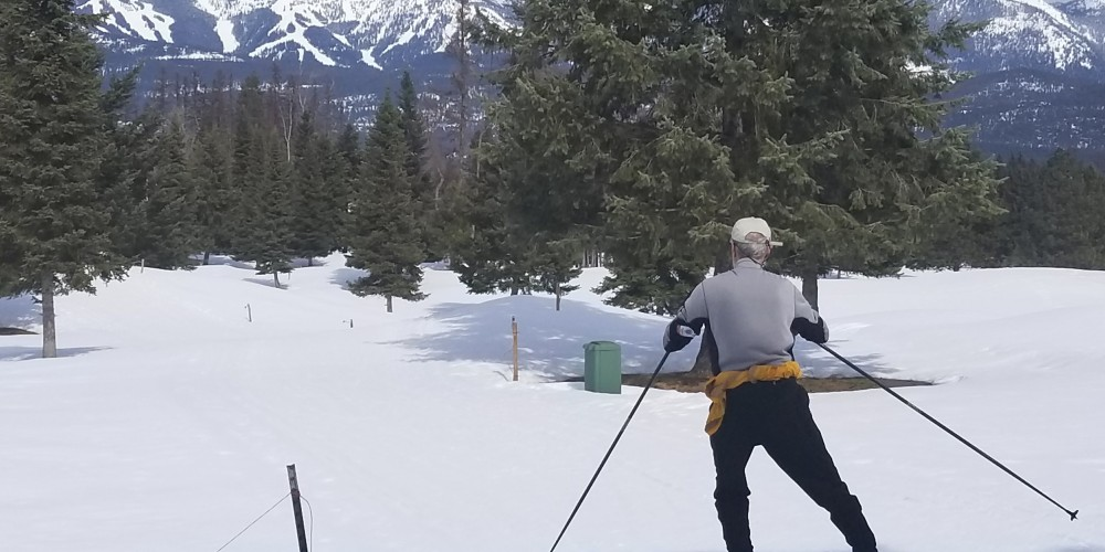 Spring skiing with a view