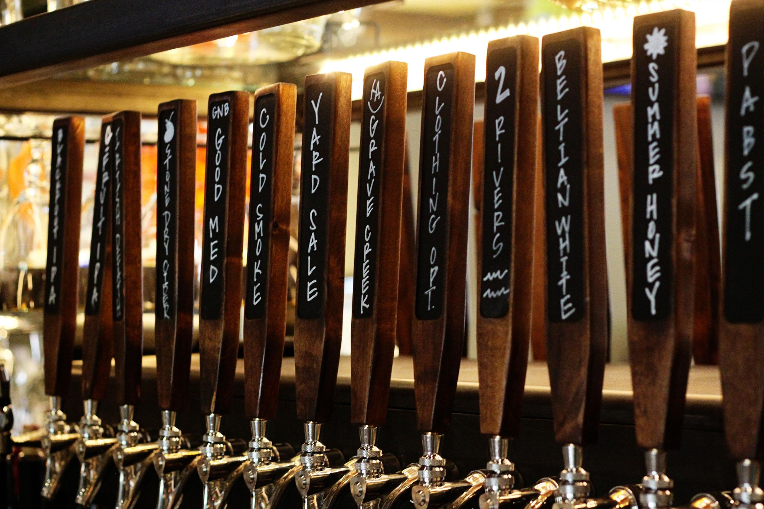 A wide variety of beers on tap