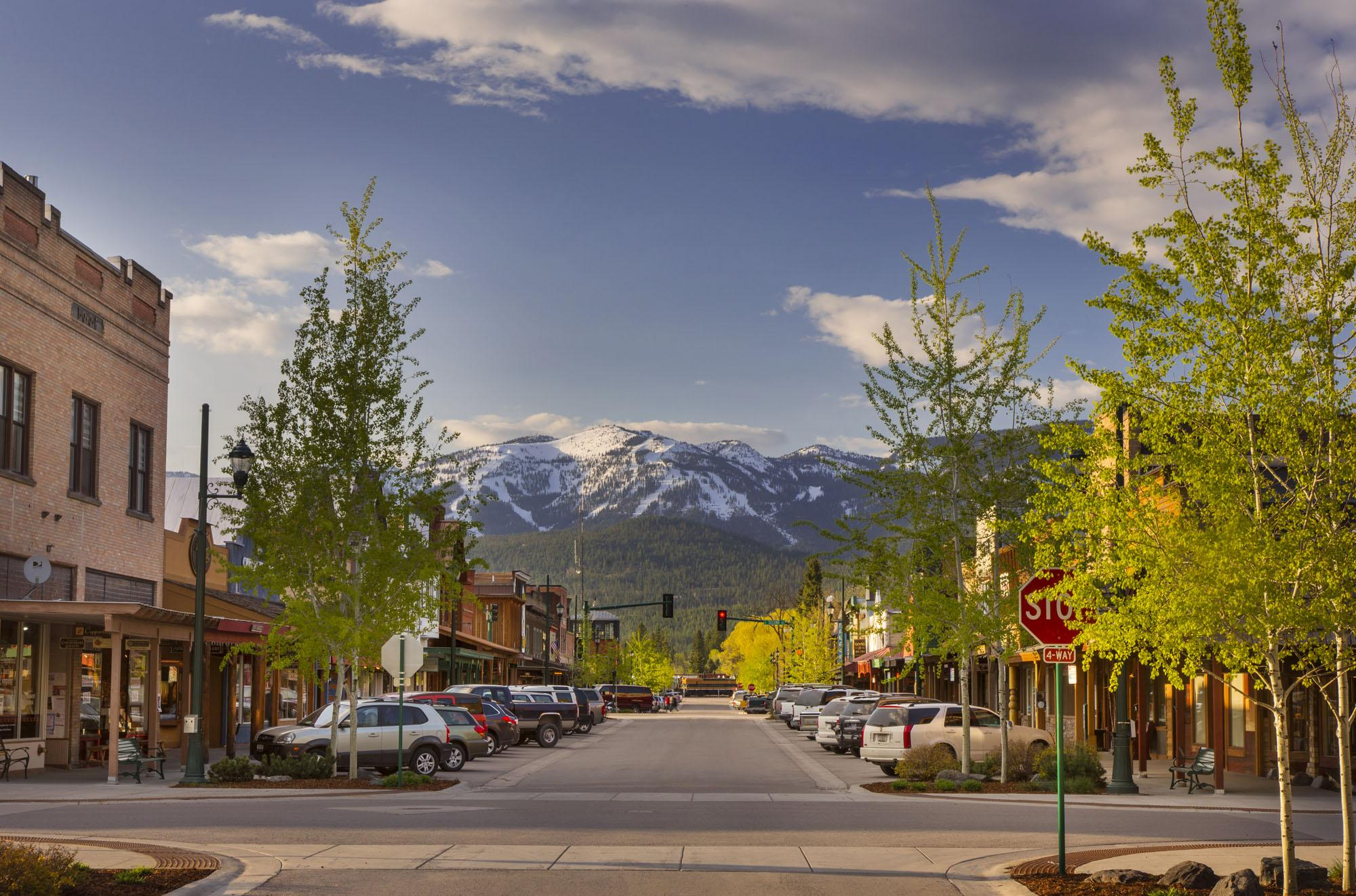 Central Avenue in downtown Whitefish with Whitefish Mountain Resort in the background – Chuck Haney