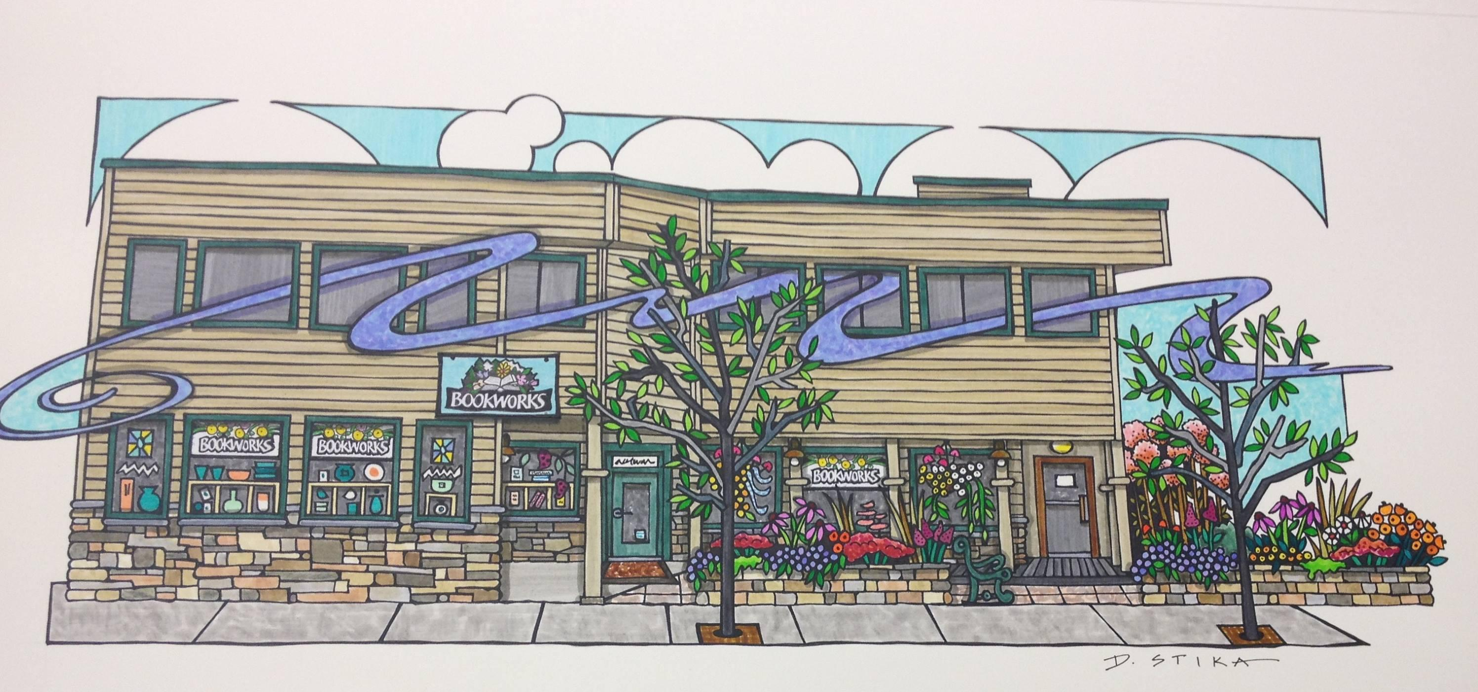 Drawing of Bookworks by Deb Stika