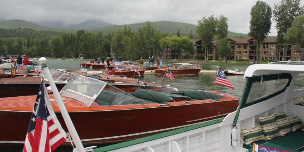 Looking across the stern of a 1940 Chris Craft Green and White Cruiser. – Tim Salt