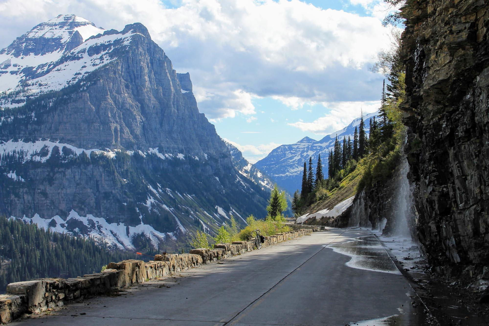 The Weeping Wall is a popular stopping point along Going-to-the-Sun Road