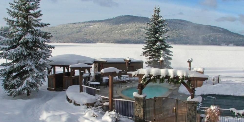 Snowy Lakefront Hot Tub