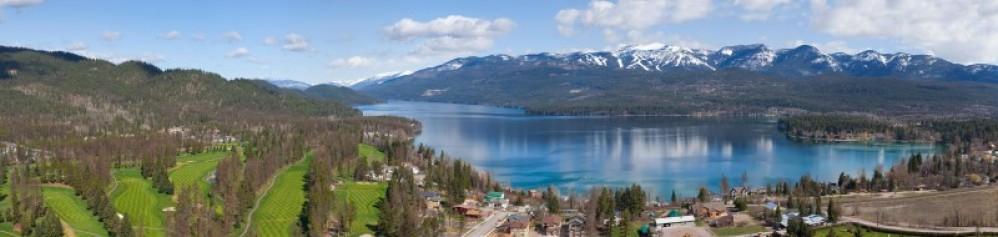 Aerail panoramic view of Whitefish Lake. – Gravityshots.com