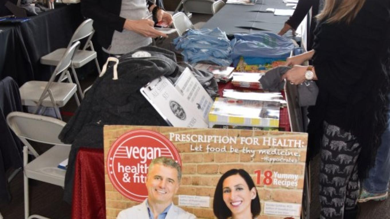 The Sedona Performing Arts Center lobby was filled with exhibitors during Sedona VegFest 2017. – Don Fries
